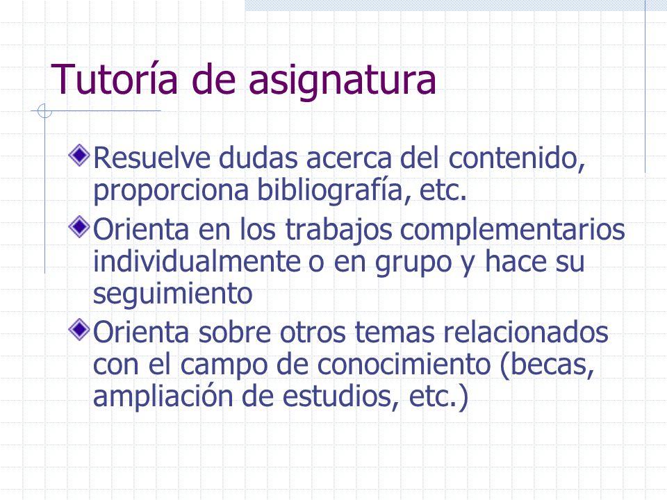 Tutoría de asignatura Resuelve dudas acerca del contenido, proporciona bibliografía, etc. Orienta en los trabajos complementarios individualmente o en