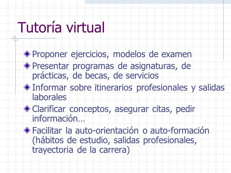 Tutoría virtual Proponer ejercicios, modelos de examen Presentar programas de asignaturas, de prácticas, de becas, de servicios Informar sobre itinera