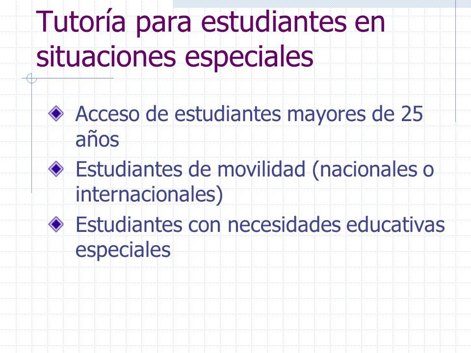Tutoría para estudiantes en situaciones especiales Acceso de estudiantes mayores de 25 años Estudiantes de movilidad (nacionales o internacionales) Es