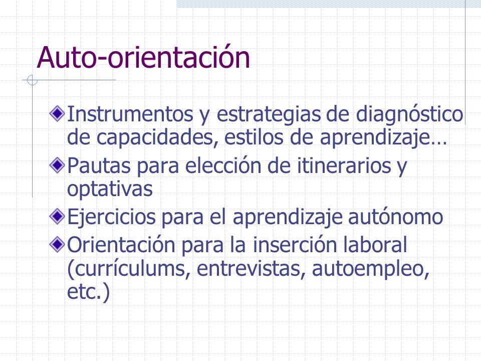 Auto-orientación Instrumentos y estrategias de diagnóstico de capacidades, estilos de aprendizaje… Pautas para elección de itinerarios y optativas Eje