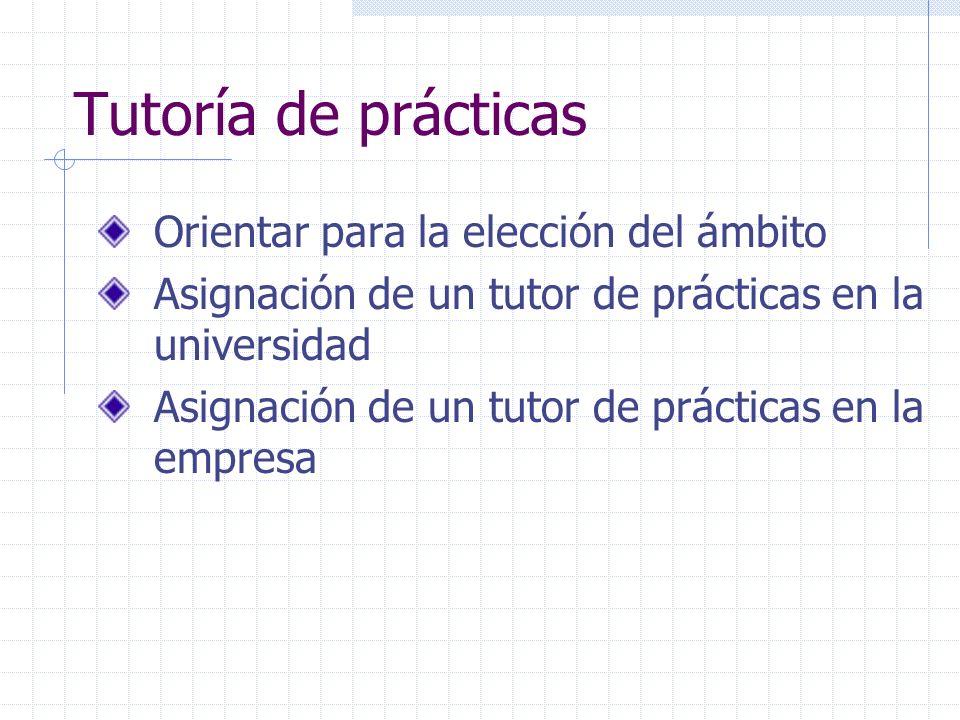 Tutoría de prácticas Orientar para la elección del ámbito Asignación de un tutor de prácticas en la universidad Asignación de un tutor de prácticas en
