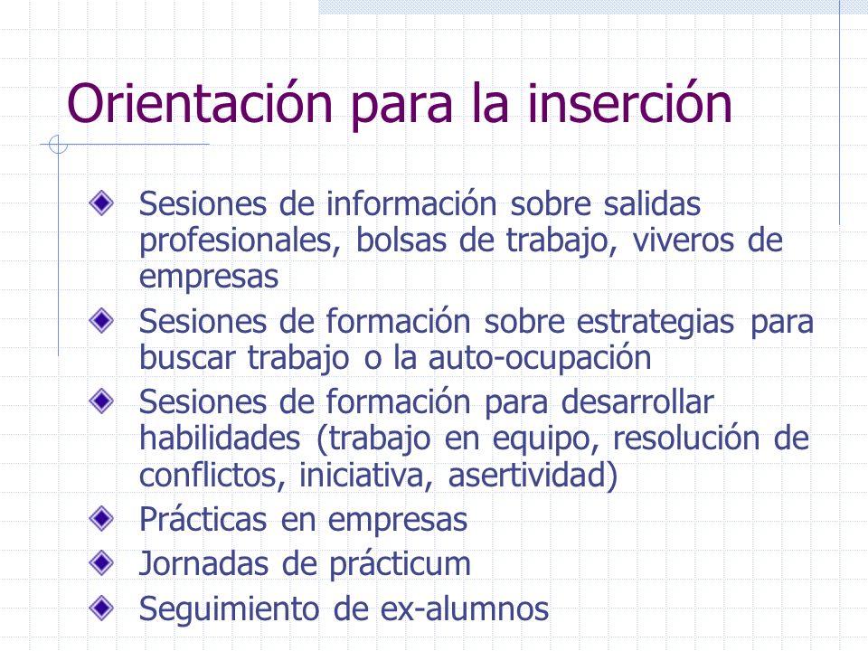 Orientación para la inserción Sesiones de información sobre salidas profesionales, bolsas de trabajo, viveros de empresas Sesiones de formación sobre