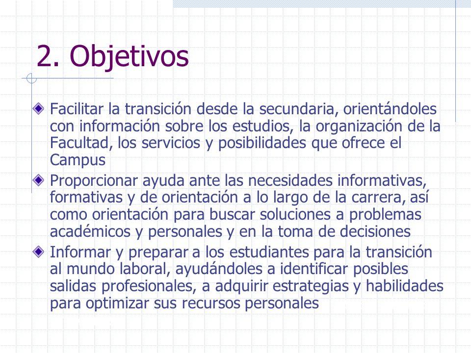 2. Objetivos Facilitar la transición desde la secundaria, orientándoles con información sobre los estudios, la organización de la Facultad, los servic