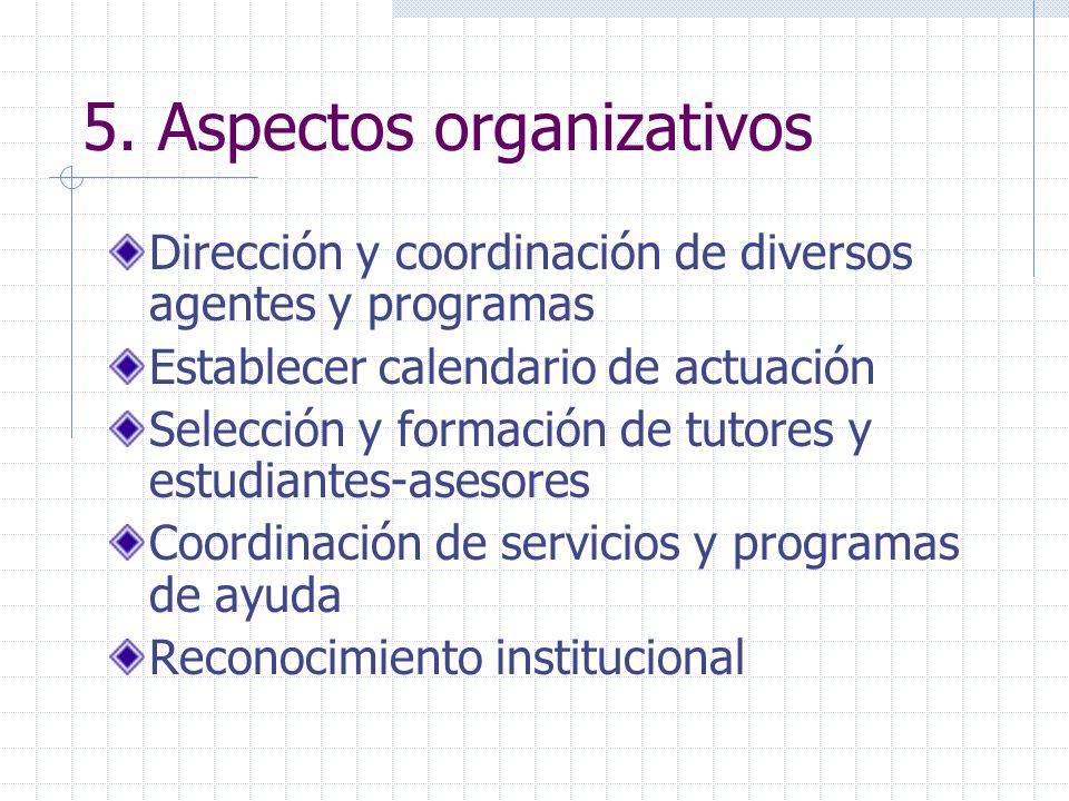 5. Aspectos organizativos Dirección y coordinación de diversos agentes y programas Establecer calendario de actuación Selección y formación de tutores