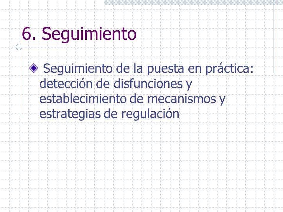 6. Seguimiento Seguimiento de la puesta en práctica: detección de disfunciones y establecimiento de mecanismos y estrategias de regulación