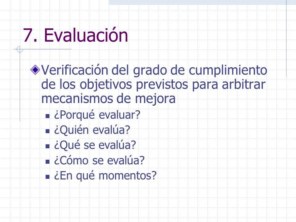 7. Evaluación Verificación del grado de cumplimiento de los objetivos previstos para arbitrar mecanismos de mejora ¿Porqué evaluar? ¿Quién evalúa? ¿Qu