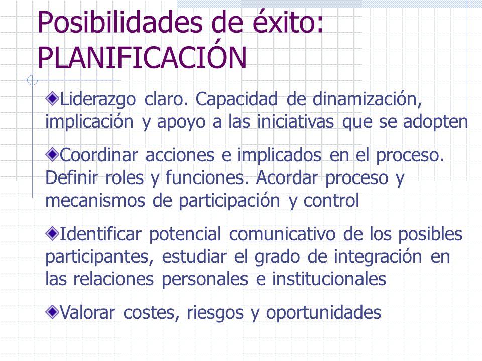 Liderazgo claro. Capacidad de dinamización, implicación y apoyo a las iniciativas que se adopten Coordinar acciones e implicados en el proceso. Defini