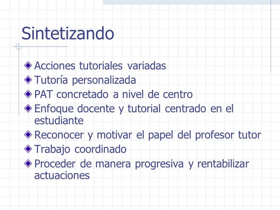 Sintetizando Acciones tutoriales variadas Tutoría personalizada PAT concretado a nivel de centro Enfoque docente y tutorial centrado en el estudiante