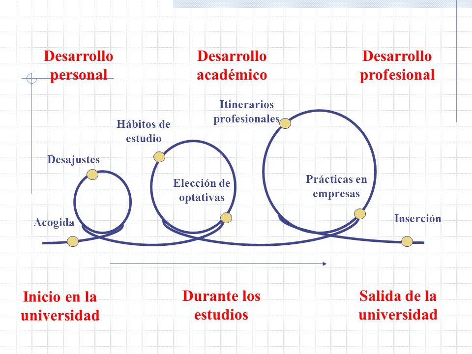 Inserción Elección de optativas Inicio en la universidad Durante los estudios Salida de la universidad Desarrollo personal Itinerarios profesionales A