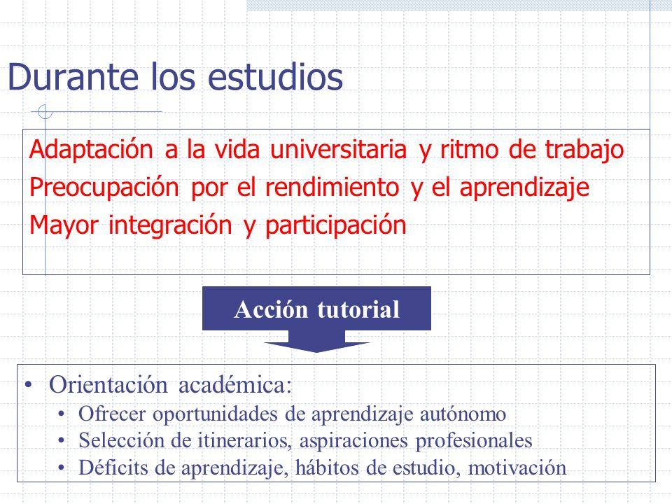 Durante los estudios Adaptación a la vida universitaria y ritmo de trabajo Preocupación por el rendimiento y el aprendizaje Mayor integración y partic