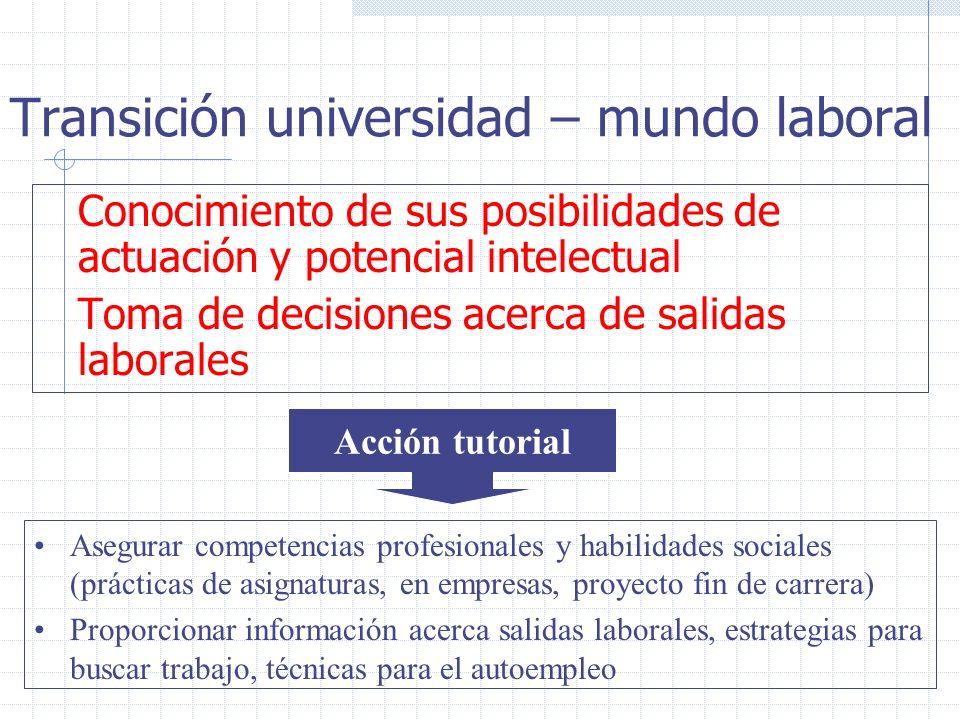 Transición universidad – mundo laboral Conocimiento de sus posibilidades de actuación y potencial intelectual Toma de decisiones acerca de salidas lab