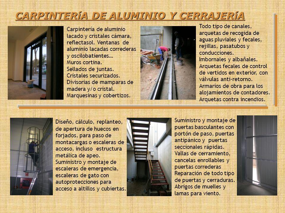 CARPINTERíA DE ALUMINIO Y CERRAJERíA Suministro y montaje de puertas basculantes con portón de paso, puertas antipánico y puertas seccionales rápidas.