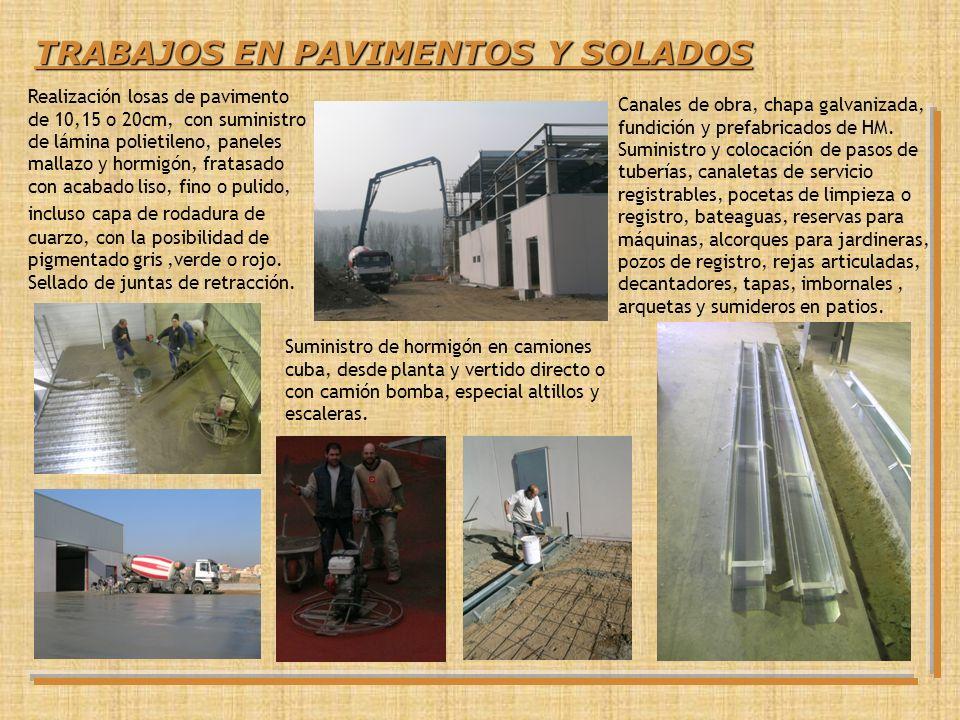 TRABAJOS EN PAVIMENTOS Y SOLADOS Realización losas de pavimento de 10,15 o 20cm, con suministro de lámina polietileno, paneles mallazo y hormigón, fra