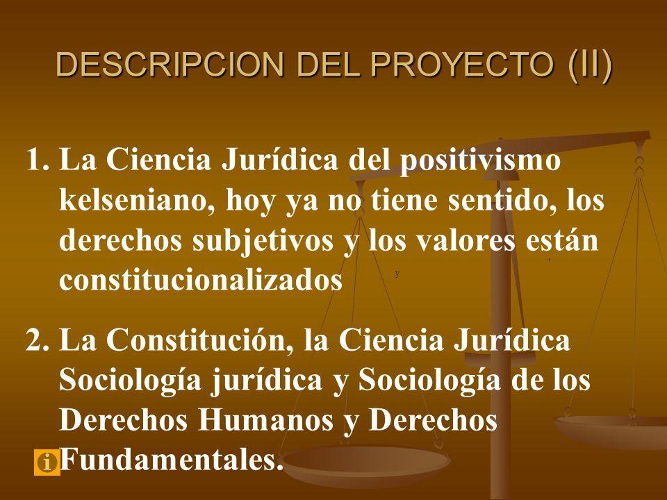 DESCRIPCION DEL PROYECTO (II), y 1.La Ciencia Jurídica del positivismo kelseniano, hoy ya no tiene sentido, los derechos subjetivos y los valores está