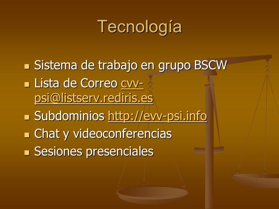 Tecnología Sistema de trabajo en grupo BSCW Sistema de trabajo en grupo BSCW Lista de Correo cvv- psi@listserv.rediris.es Lista de Correo cvv- psi@lis