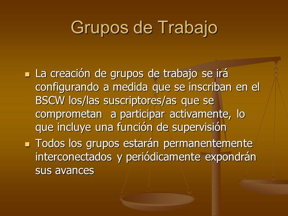 Grupos de Trabajo La creación de grupos de trabajo se irá configurando a medida que se inscriban en el BSCW los/las suscriptores/as que se comprometan