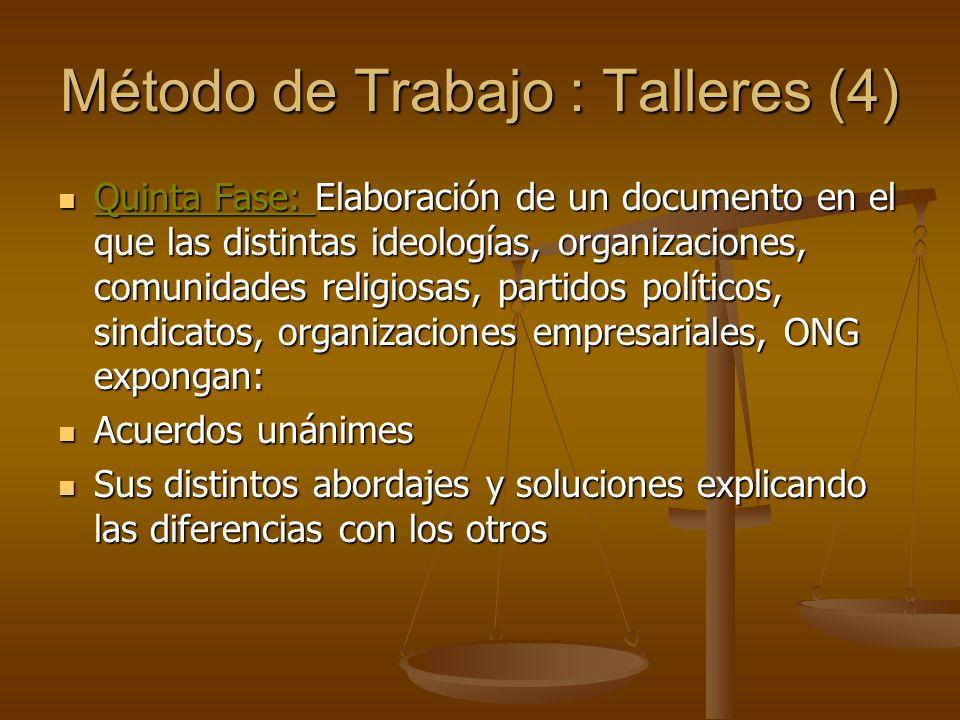 Método de Trabajo : Talleres (4) Quinta Fase: Elaboración de un documento en el que las distintas ideologías, organizaciones, comunidades religiosas,