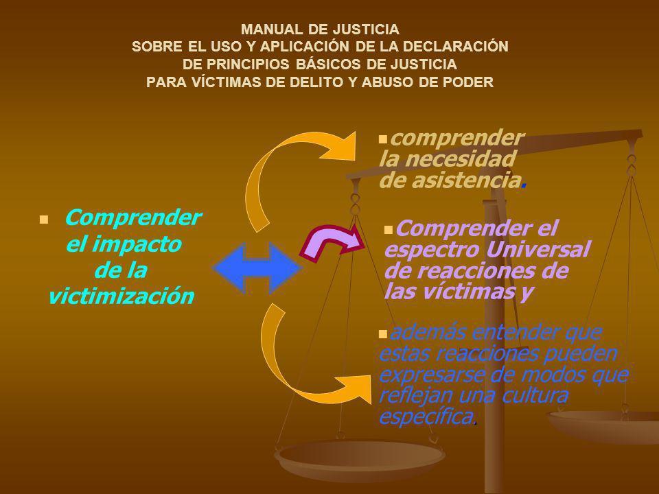 Comprender el espectro Universal de reacciones de las víctimas y MANUAL DE JUSTICIA SOBRE EL USO Y APLICACIÓN DE LA DECLARACIÓN DE PRINCIPIOS BÁSICOS