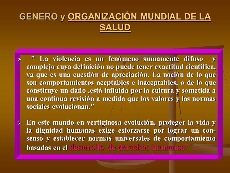GENERO y ORGANIZACIÓN MUNDIAL DE LA SALUD ORGANIZACIÓN MUNDIAL DE LA SALUDORGANIZACIÓN MUNDIAL DE LA SALUD