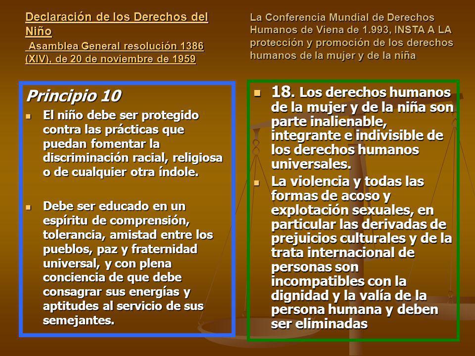 Declaración de los Derechos del Niño Asamblea General resolución 1386 (XIV), de 20 de noviembre de 1959 Declaración de los Derechos del Niño Asamblea