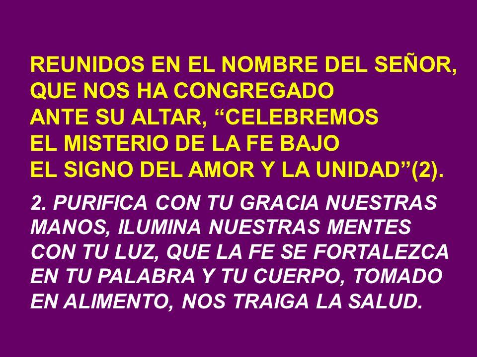 REUNIDOS EN EL NOMBRE DEL SEÑOR, QUE NOS HA CONGREGADO ANTE SU ALTAR, CELEBREMOS EL MISTERIO DE LA FE BAJO EL SIGNO DEL AMOR Y LA UNIDAD(2).