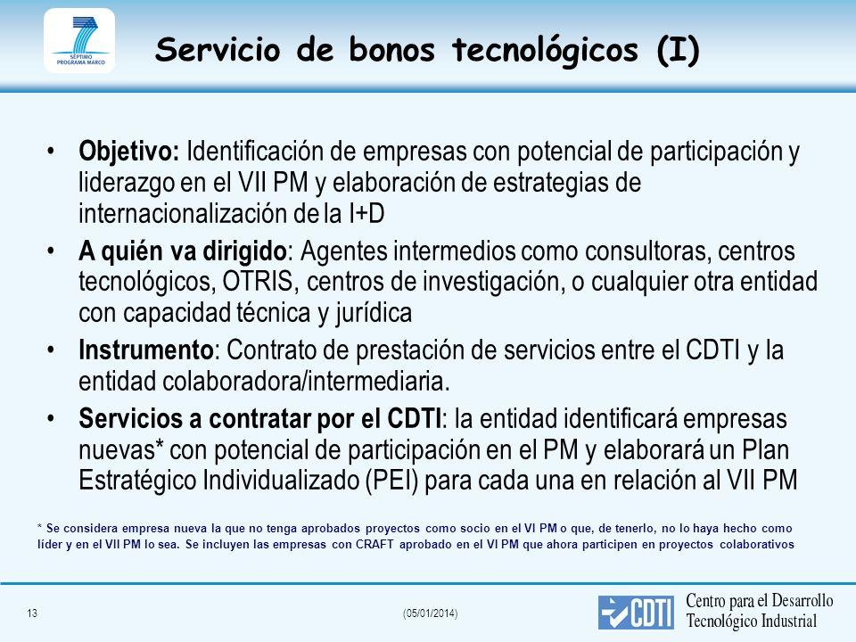 13(05/01/2014) Servicio de bonos tecnológicos (I) Objetivo: Identificación de empresas con potencial de participación y liderazgo en el VII PM y elabo