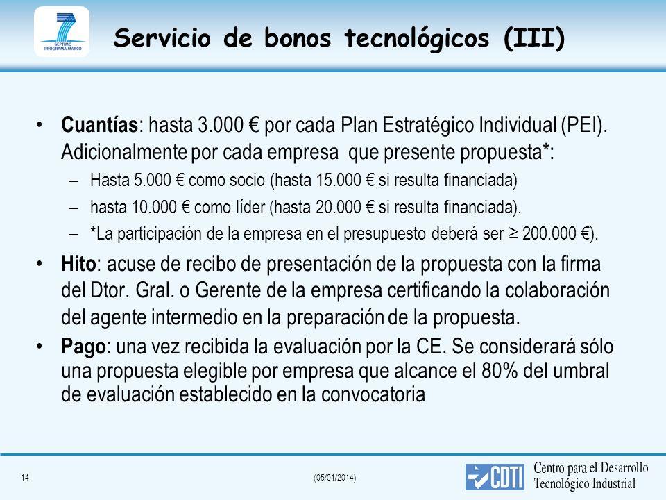 14(05/01/2014) Servicio de bonos tecnológicos (III) Cuantías : hasta 3.000 por cada Plan Estratégico Individual (PEI). Adicionalmente por cada empresa