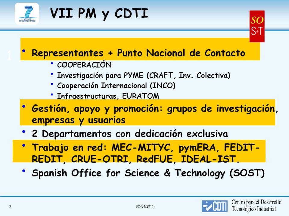 3(05/01/2014) VII PM y CDTI Representantes + Punto Nacional de Contacto COOPERACIÓN Investigación para PYME (CRAFT, Inv. Colectiva) Cooperación Intern