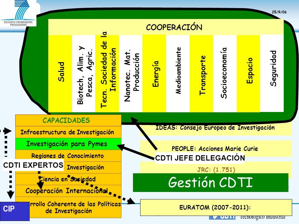 9(05/01/2014) IDEAS: Consejo Europeo de Investigación COOPERACIÓN Salud Nanotec. Mat. Producción Espacio Tecn. Sociedad de la Información Biotech, Ali