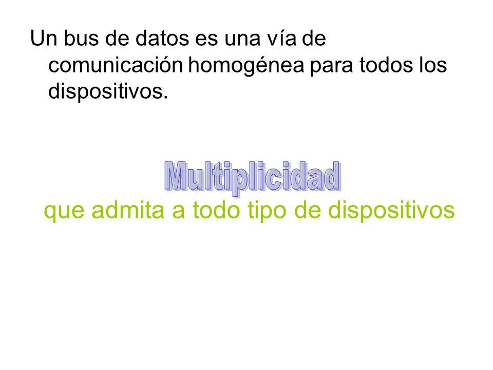 Un bus de datos es una vía de comunicación homogénea para todos los dispositivos.
