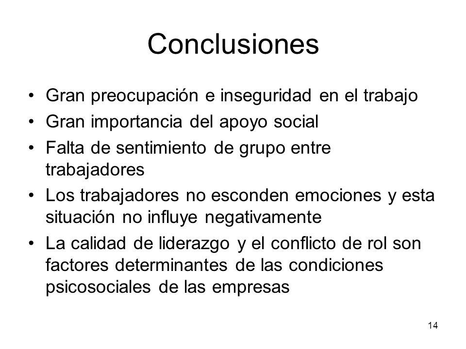 14 Conclusiones Gran preocupación e inseguridad en el trabajo Gran importancia del apoyo social Falta de sentimiento de grupo entre trabajadores Los t