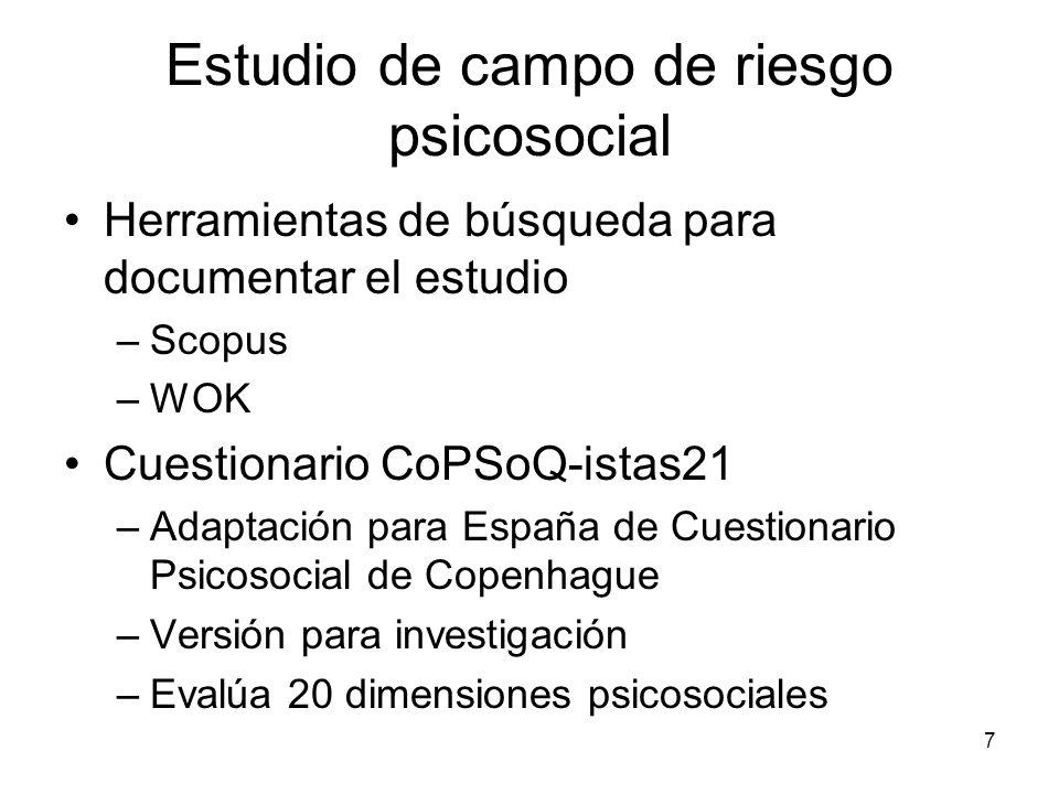 7 Estudio de campo de riesgo psicosocial Herramientas de búsqueda para documentar el estudio –Scopus –WOK Cuestionario CoPSoQ-istas21 –Adaptación para