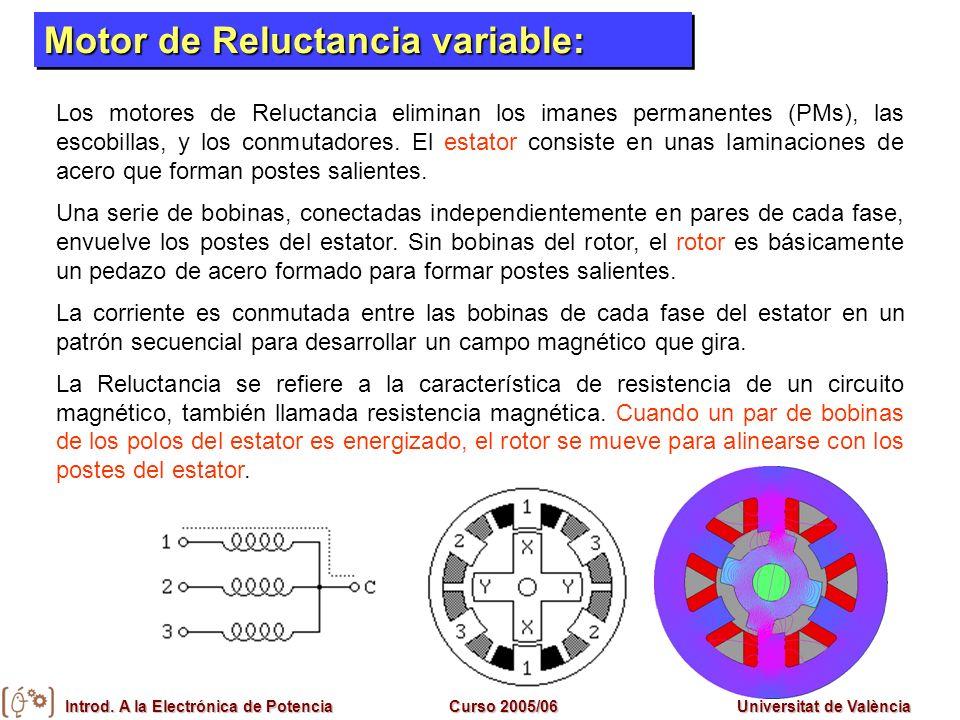 Introd. A la Electrónica de PotenciaCurso 2005/06Universitat de València Motores Síncronos Motor de Reluctancia variable: Los motores de Reluctancia e