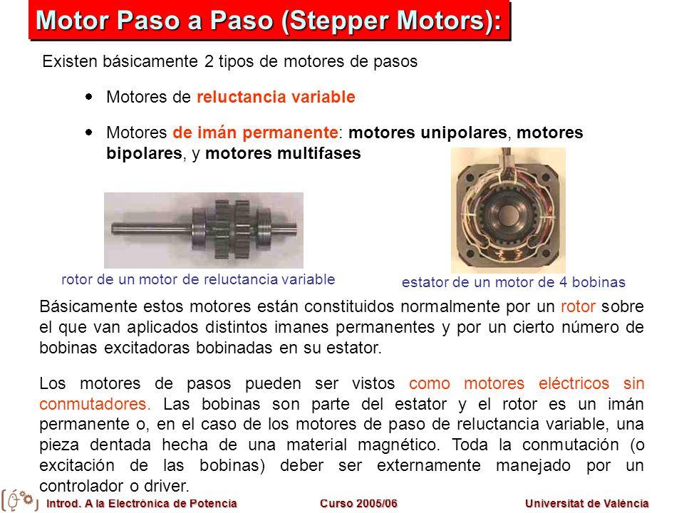 Introd. A la Electrónica de PotenciaCurso 2005/06Universitat de València Motor Paso a Paso (Stepper Motors): Básicamente estos motores están constitui