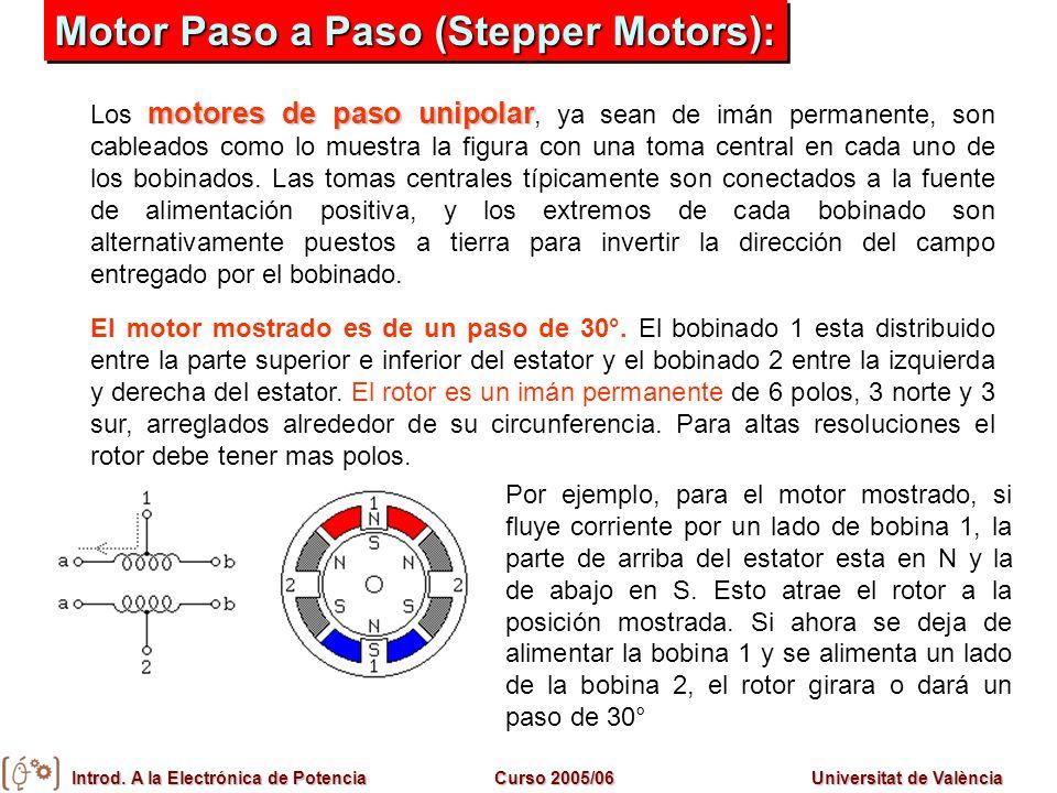 Introd. A la Electrónica de PotenciaCurso 2005/06Universitat de València motores de paso unipolar Los motores de paso unipolar, ya sean de imán perman