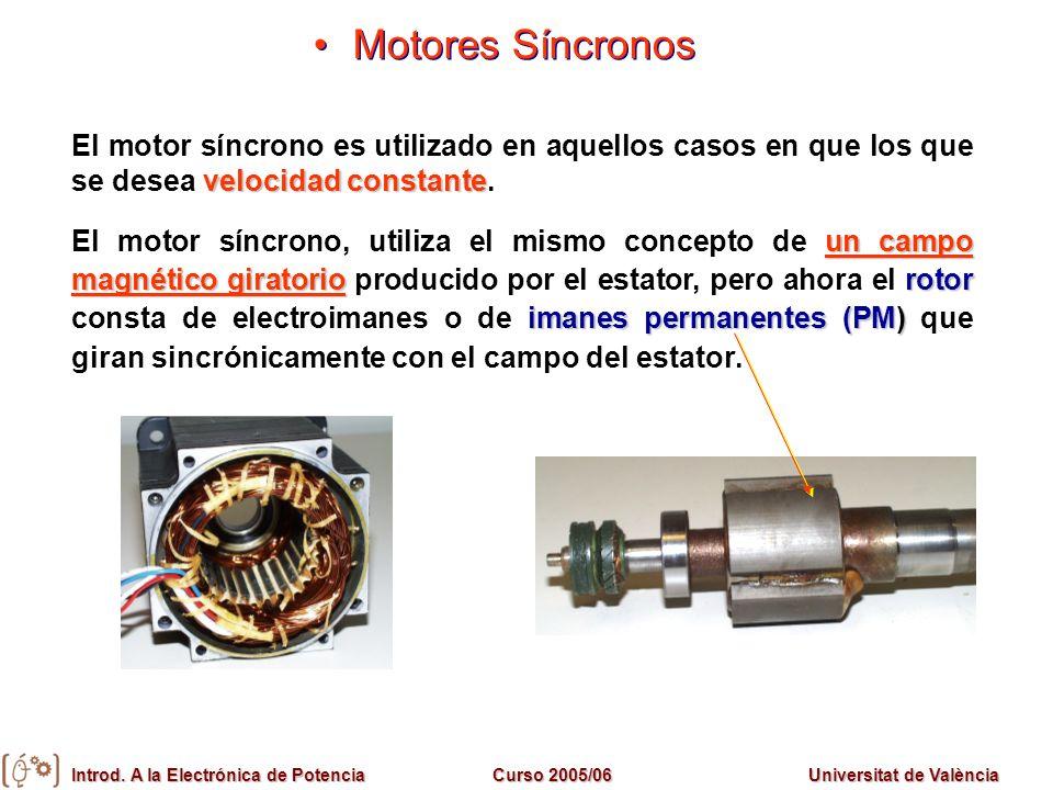 Introd. A la Electrónica de PotenciaCurso 2005/06Universitat de València Motores Síncronos velocidad constante El motor síncrono es utilizado en aquel