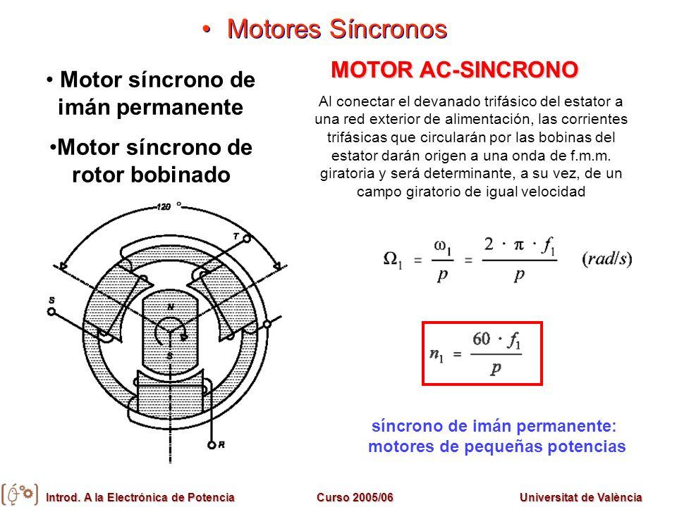 Introd. A la Electrónica de PotenciaCurso 2005/06Universitat de València Motores Síncronos Motor síncrono de imán permanente Motor síncrono de rotor b