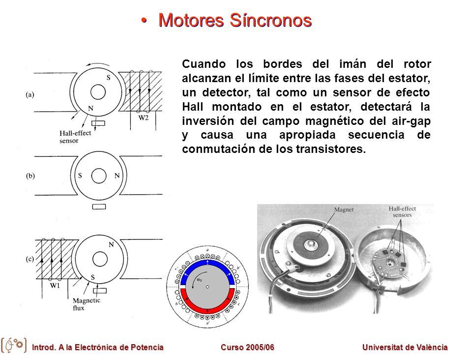 Introd. A la Electrónica de PotenciaCurso 2005/06Universitat de València Cuando los bordes del imán del rotor alcanzan el límite entre las fases del e