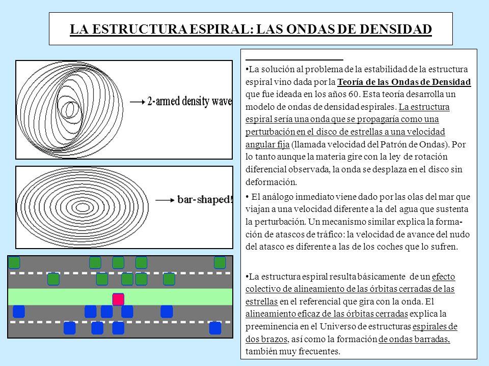 LA ESTRUCTURA ESPIRAL: LAS ONDAS DE DENSIDAD La solución al problema de la estabilidad de la estructura espiral vino dada por la Teoría de las Ondas de Densidad que fue ideada en los años 60.