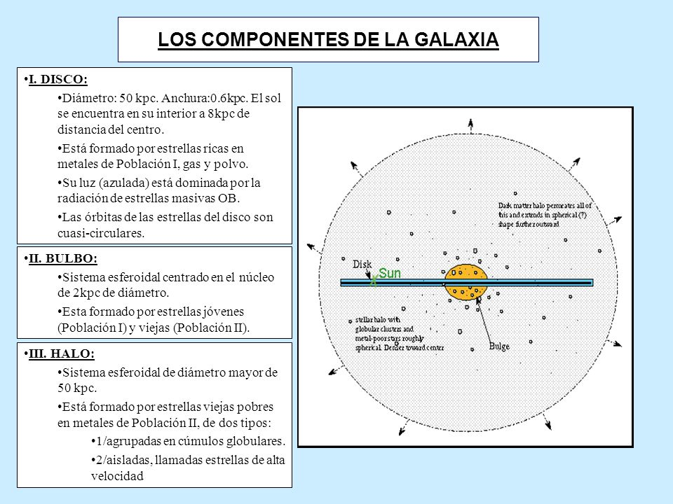 LOS COMPONENTES DE LA GALAXIA I.DISCO: Diámetro: 50 kpc.