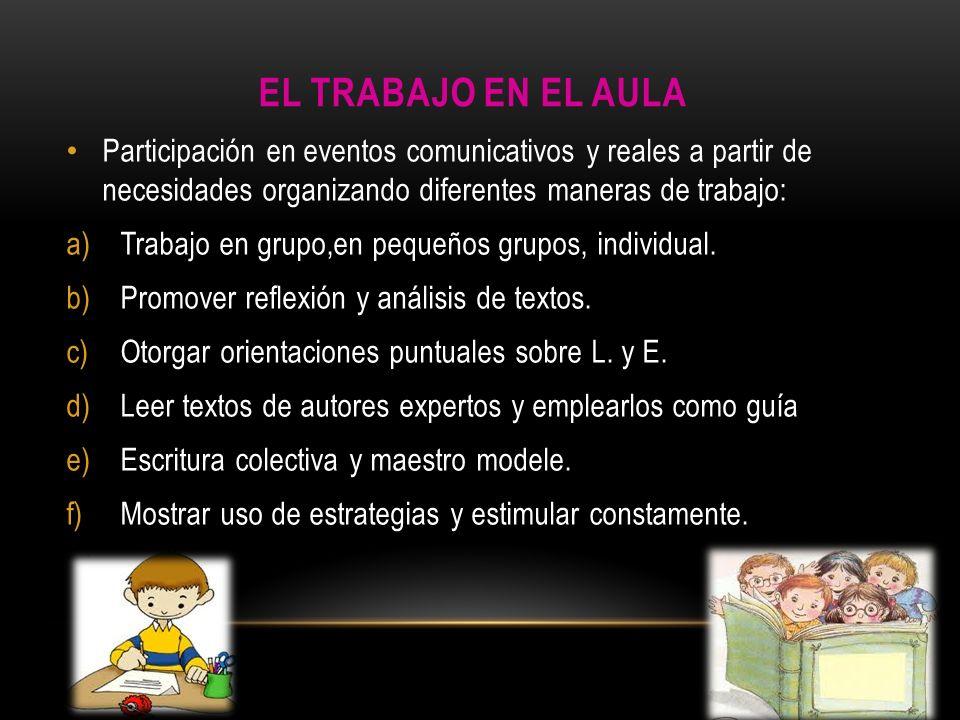 EL TRABAJO EN EL AULA Participación en eventos comunicativos y reales a partir de necesidades organizando diferentes maneras de trabajo: a)Trabajo en