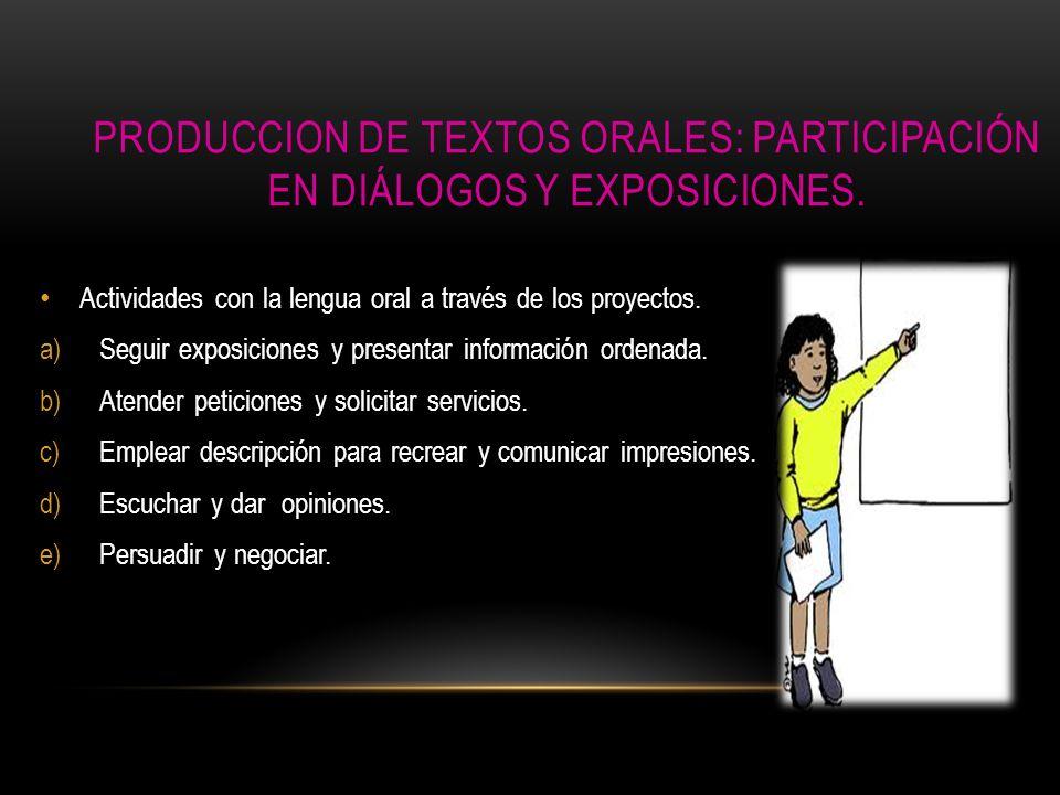 PRODUCCION DE TEXTOS ORALES: PARTICIPACIÓN EN DIÁLOGOS Y EXPOSICIONES. Actividades con la lengua oral a través de los proyectos. a)Seguir exposiciones