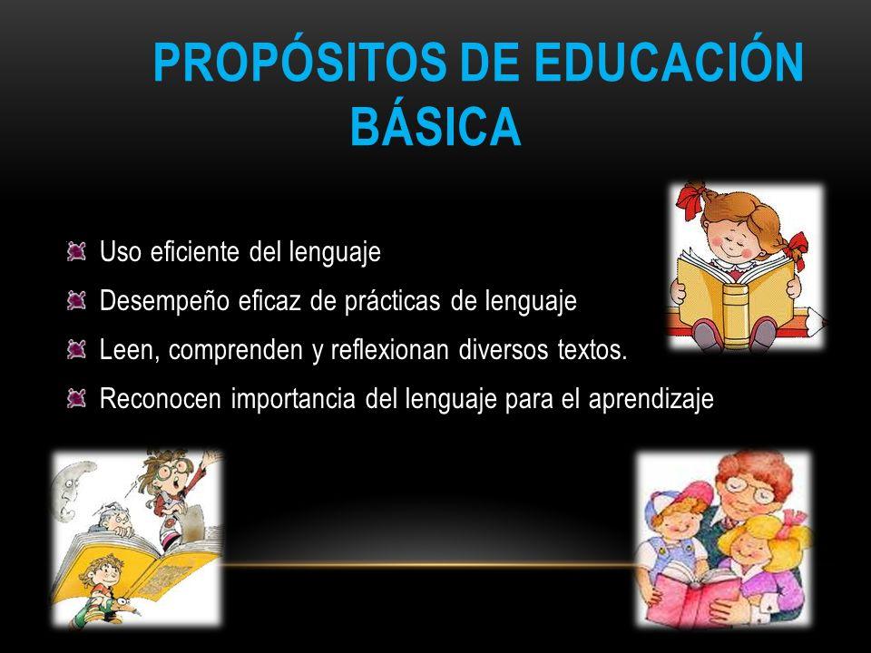 PROPÓSITOS DE EDUCACIÓN BÁSICA Uso eficiente del lenguaje Desempeño eficaz de prácticas de lenguaje Leen, comprenden y reflexionan diversos textos. Re