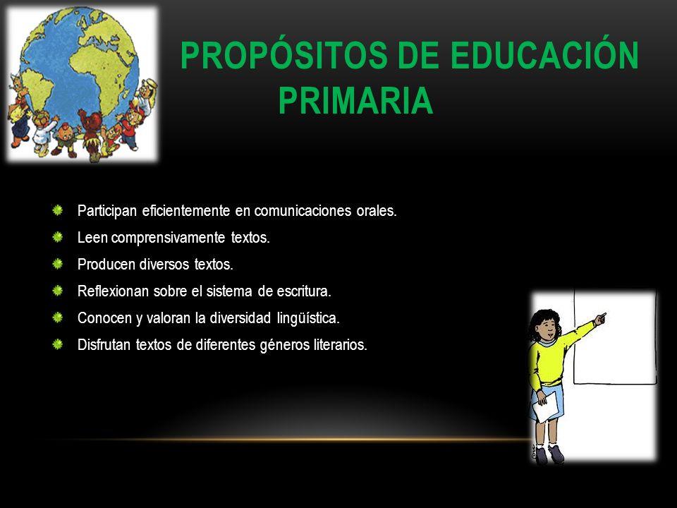 PROPÓSITOS DE EDUCACIÓN PRIMARIA Participan eficientemente en comunicaciones orales. Leen comprensivamente textos. Producen diversos textos. Reflexion