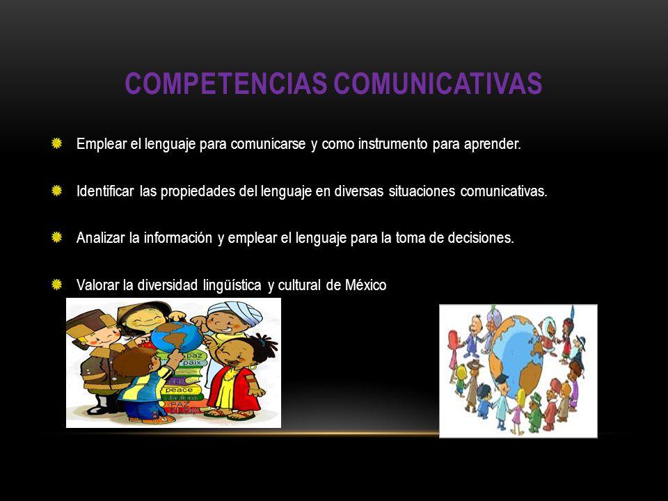 COMPETENCIAS COMUNICATIVAS Emplear el lenguaje para comunicarse y como instrumento para aprender. Identificar las propiedades del lenguaje en diversas