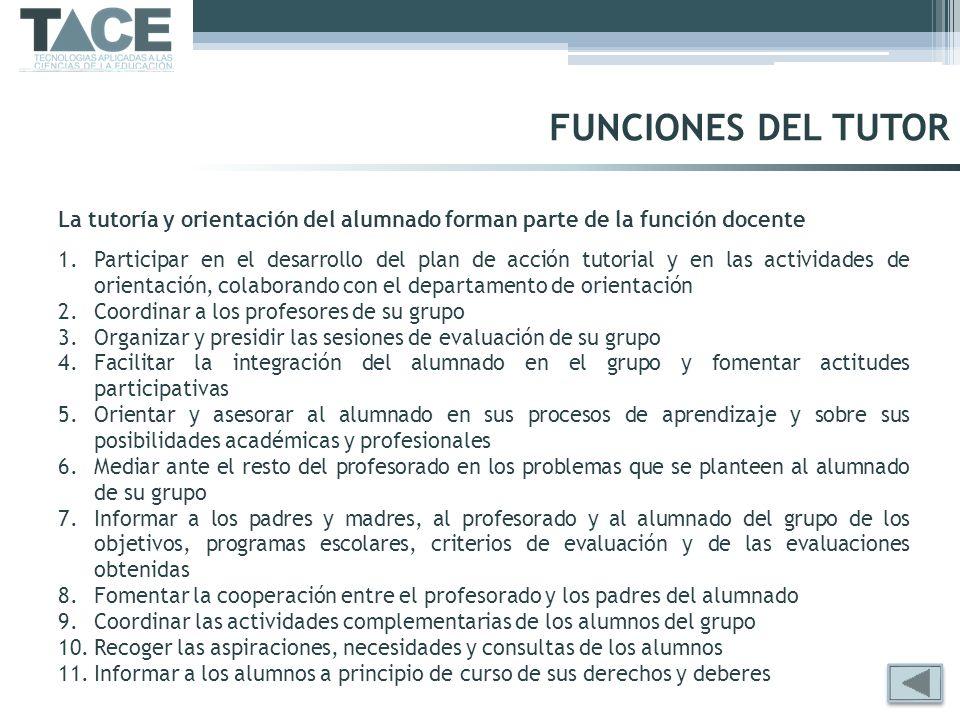 FUNCIONES DEL TUTOR La tutoría y orientación del alumnado forman parte de la función docente 1.Participar en el desarrollo del plan de acción tutorial