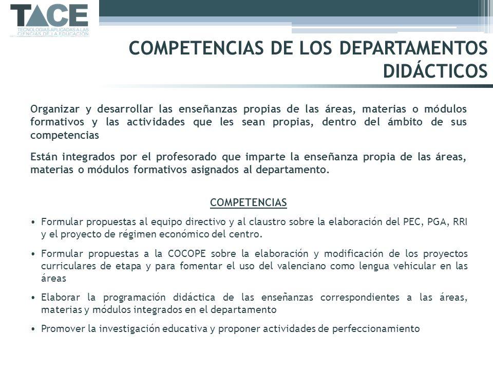 COMPETENCIAS DE LOS DEPARTAMENTOS DIDÁCTICOS Organizar y desarrollar las enseñanzas propias de las áreas, materias o módulos formativos y las activida