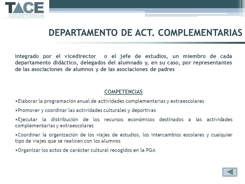 DEPARTAMENTO DE ACT. COMPLEMENTARIAS Integrado por el vicedirector o el jefe de estudios, un miembro de cada departamento didáctico, delegados del alu