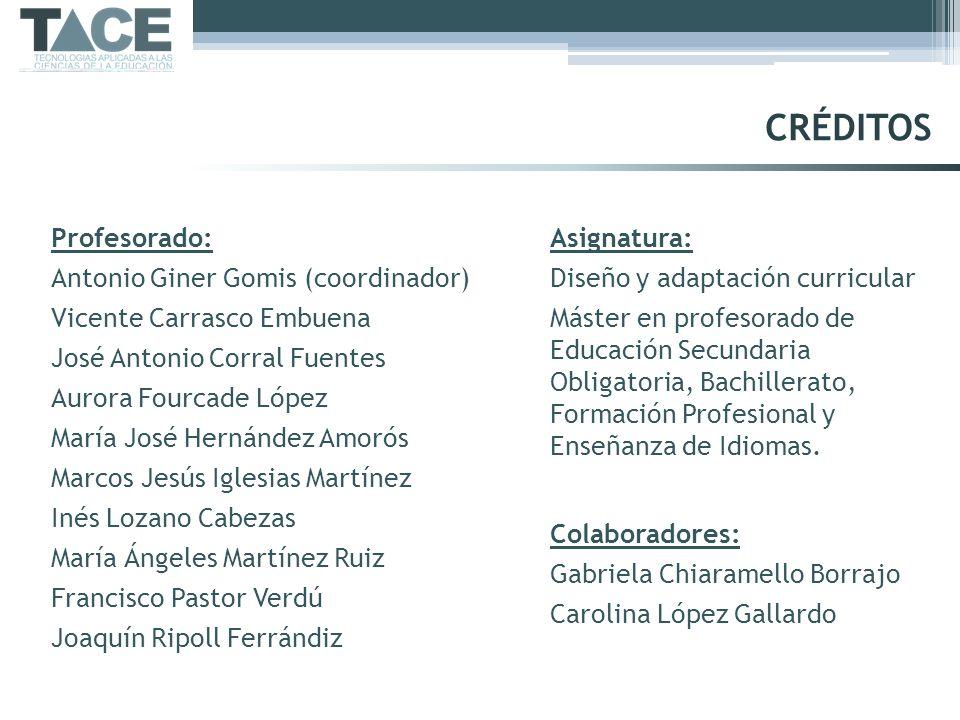 Profesorado: Antonio Giner Gomis (coordinador) Vicente Carrasco Embuena José Antonio Corral Fuentes Aurora Fourcade López María José Hernández Amorós