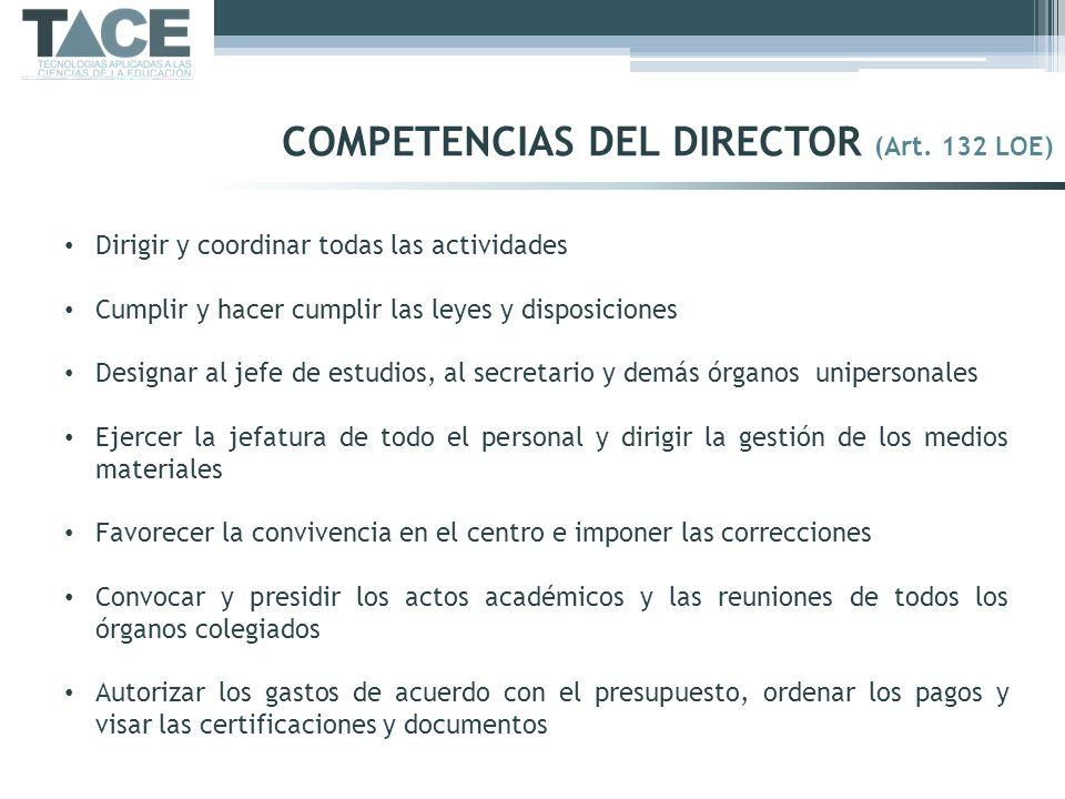 Dirigir y coordinar todas las actividades Cumplir y hacer cumplir las leyes y disposiciones Designar al jefe de estudios, al secretario y demás órgano
